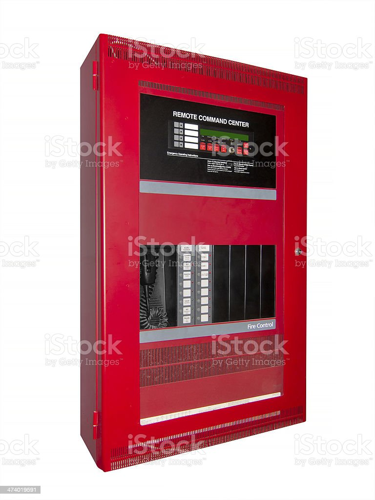 Fire alarm control box, isolated with clipping path stock photo
