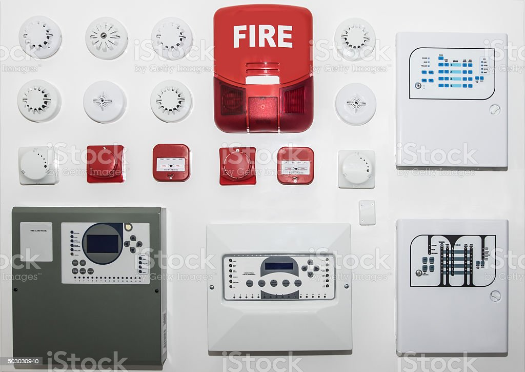 fire alarm control panel stock photo