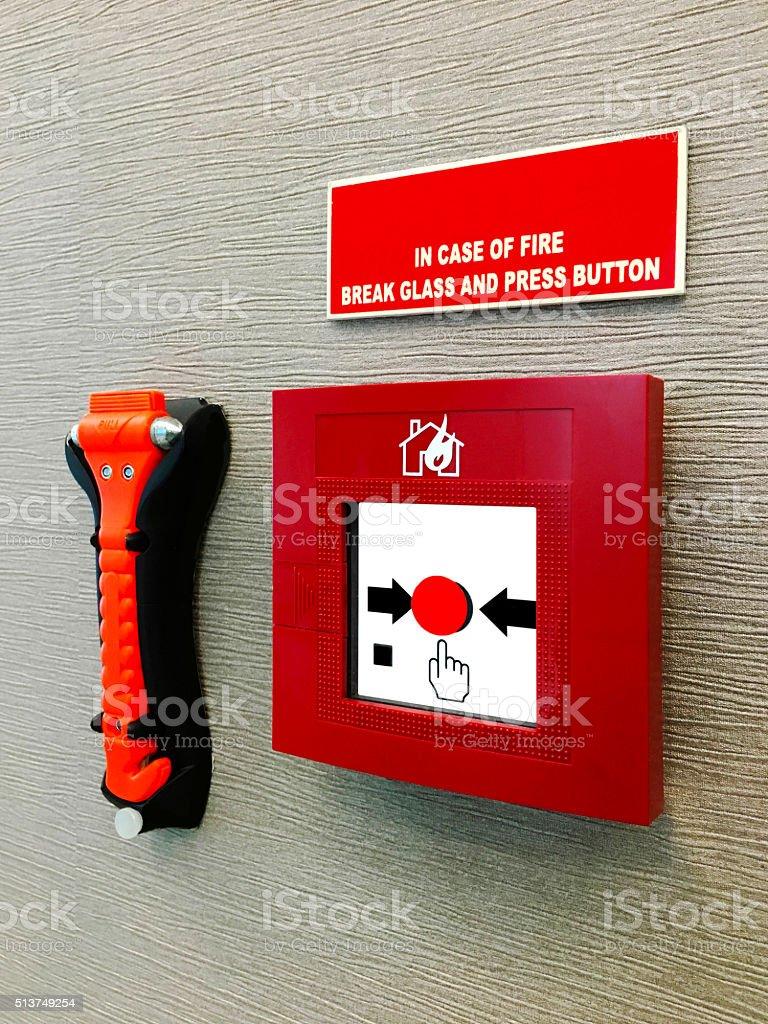 Fire Alarm on Wall stock photo