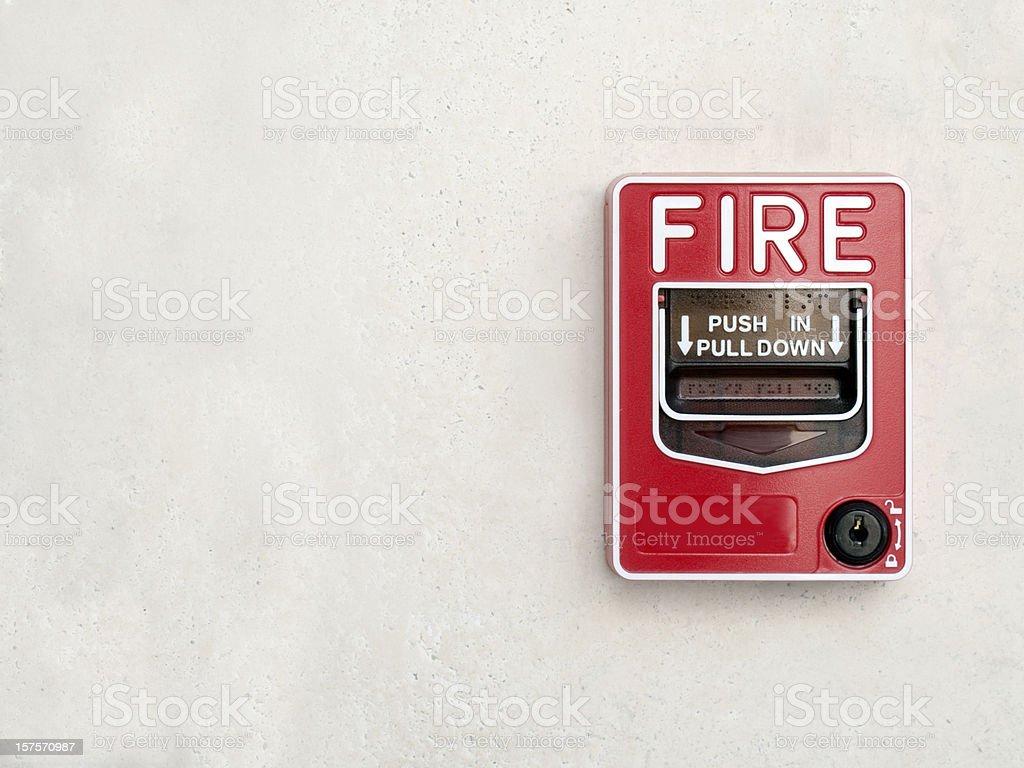 Fire Alarm on white wall stock photo