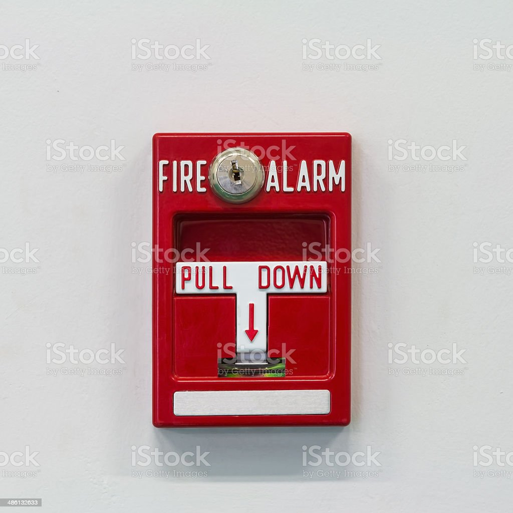 Fire alarm pull switch stock photo