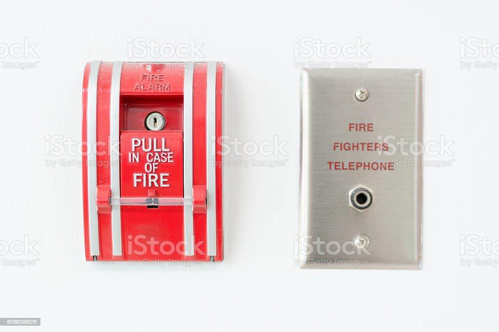 Fire alarm push botton stock photo