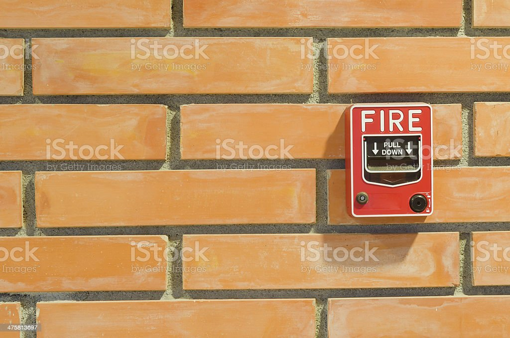 Fire alarm switch for the security system in building. stock photo