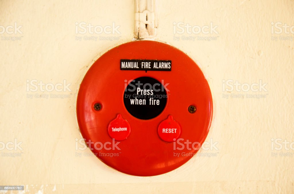 Fire alarms system on wall stock photo
