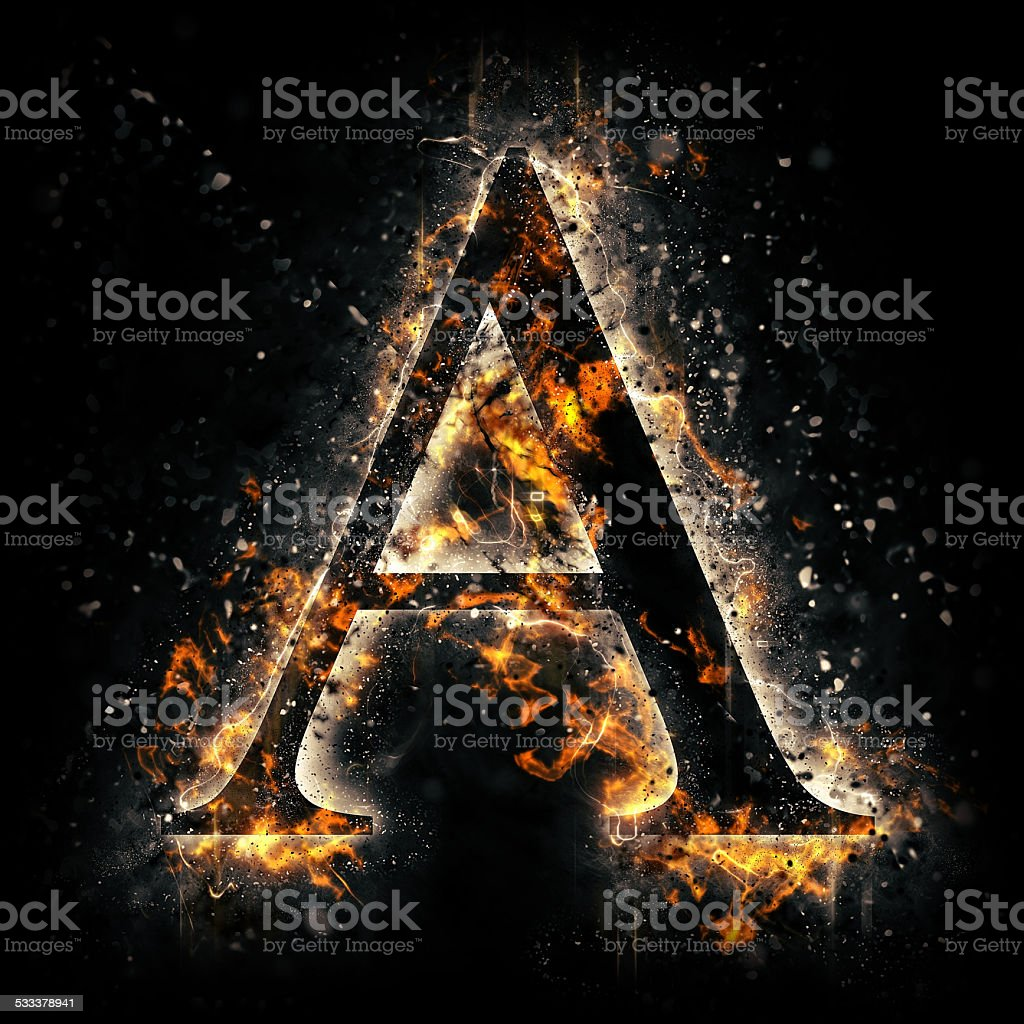 Fire alphabet. Letter A. stock photo