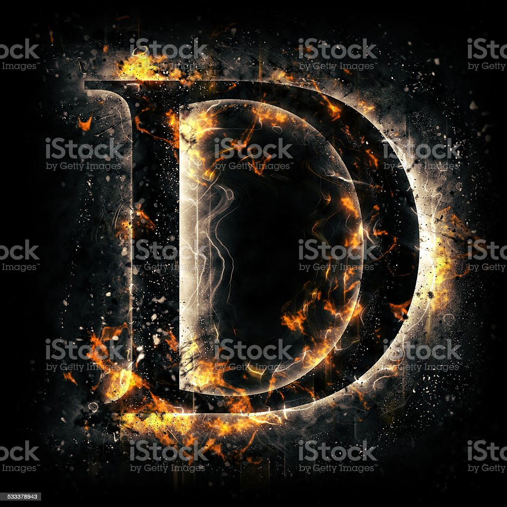 Fire alphabet. Letter D. stock photo