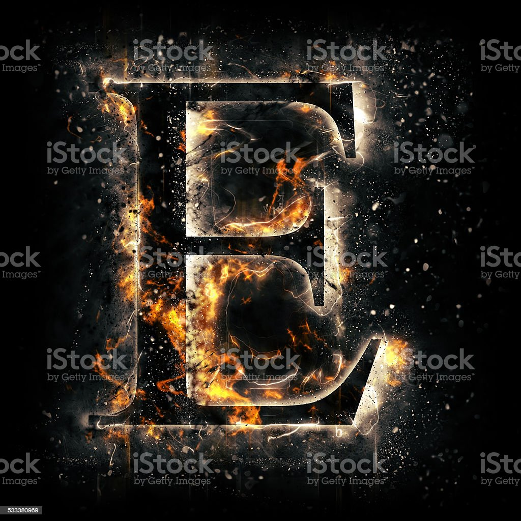Fire alphabet. Letter E. stock photo