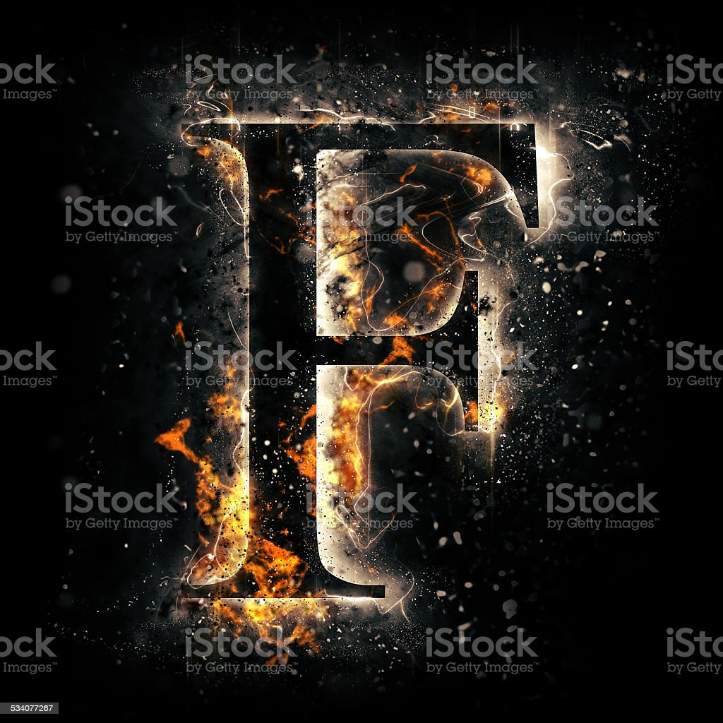 Fire alphabet. Letter F. stock photo