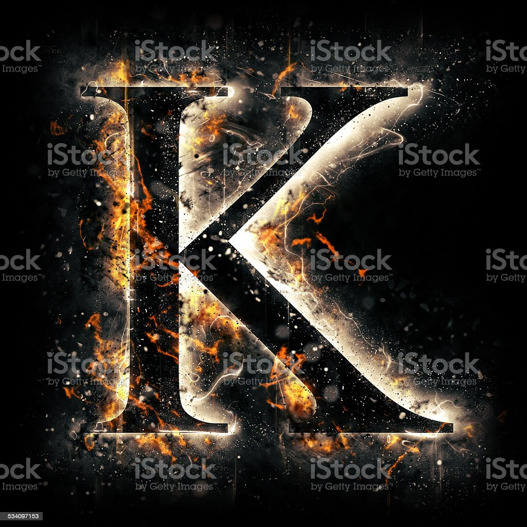 Fire alphabet. Letter K. stock photo