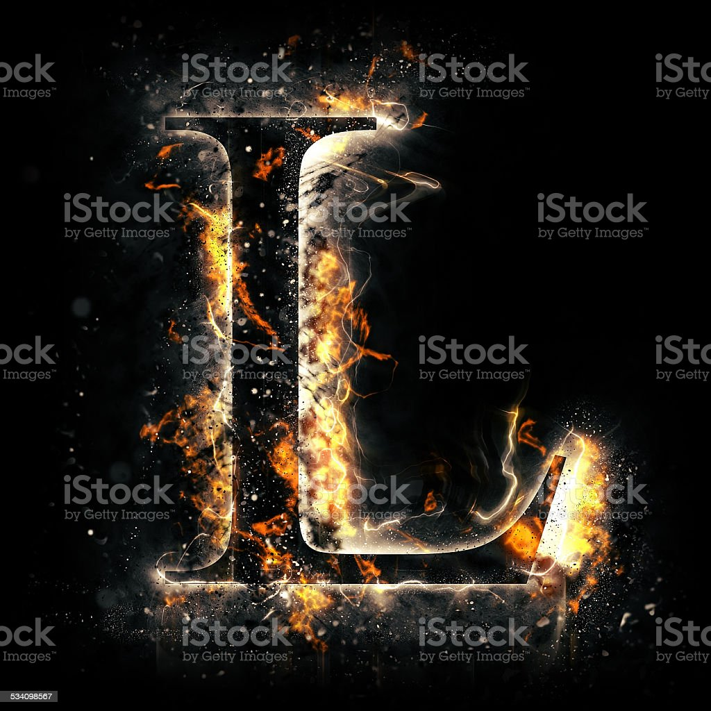Fire alphabet. Letter L. stock photo