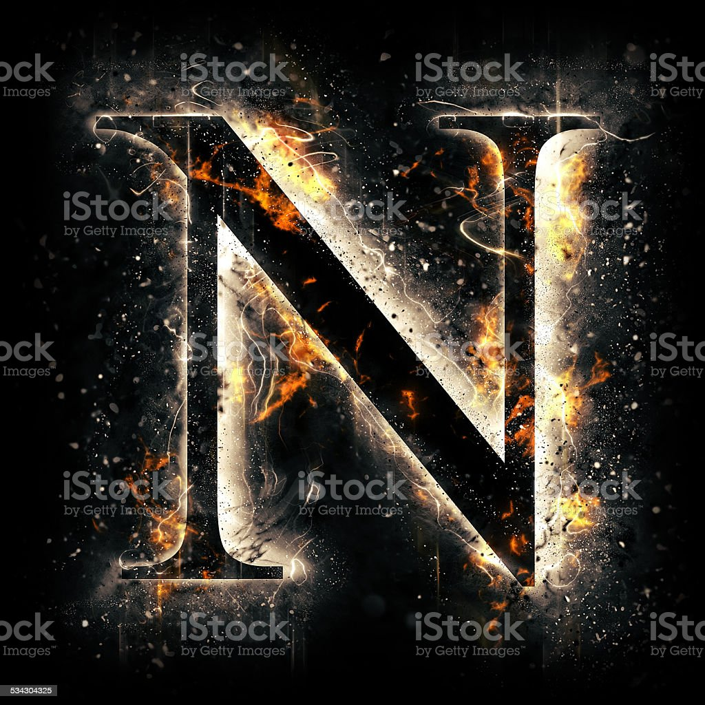 Fire alphabet. Letter N. stock photo