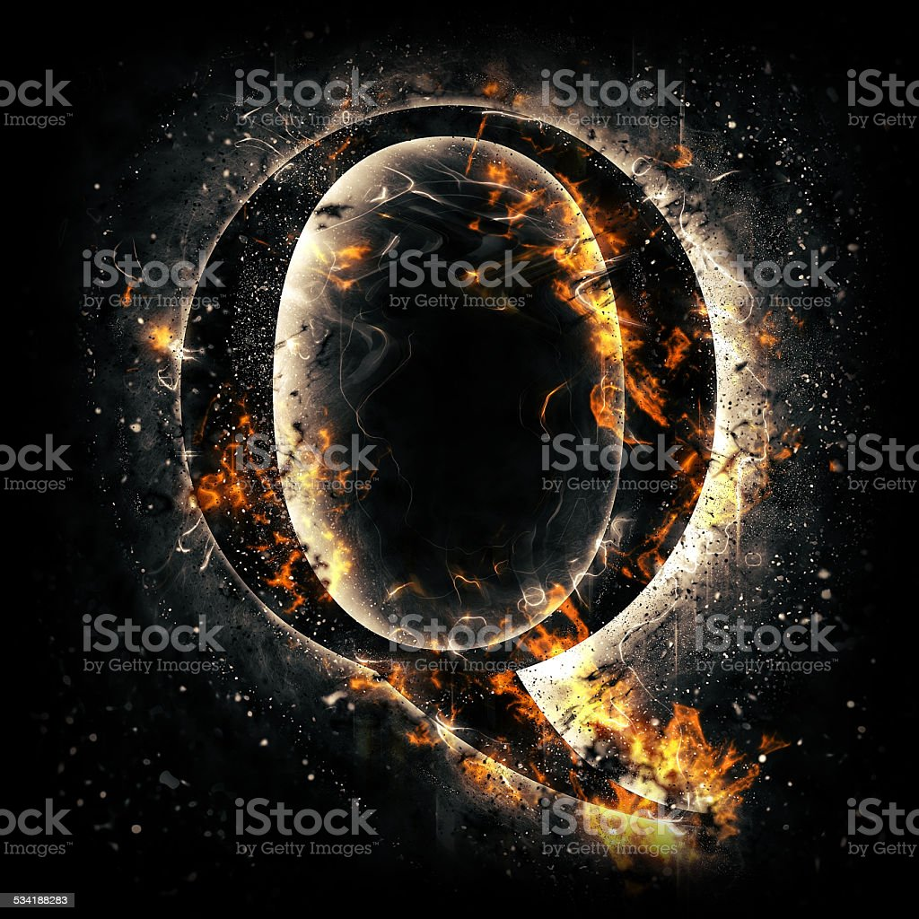 Fire alphabet. Letter Q. stock photo