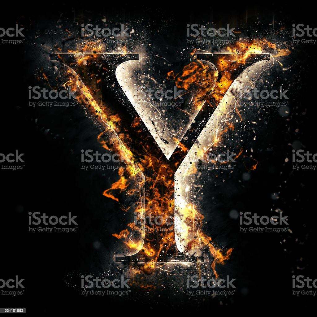 Fire alphabet. Letter Y. stock photo