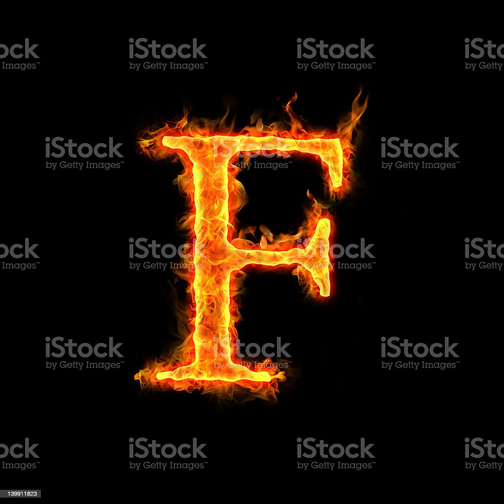 fire alphabets, F stock photo