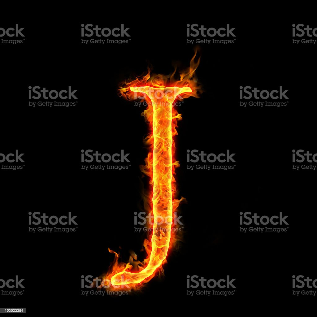 fire alphabets, J royalty-free stock photo