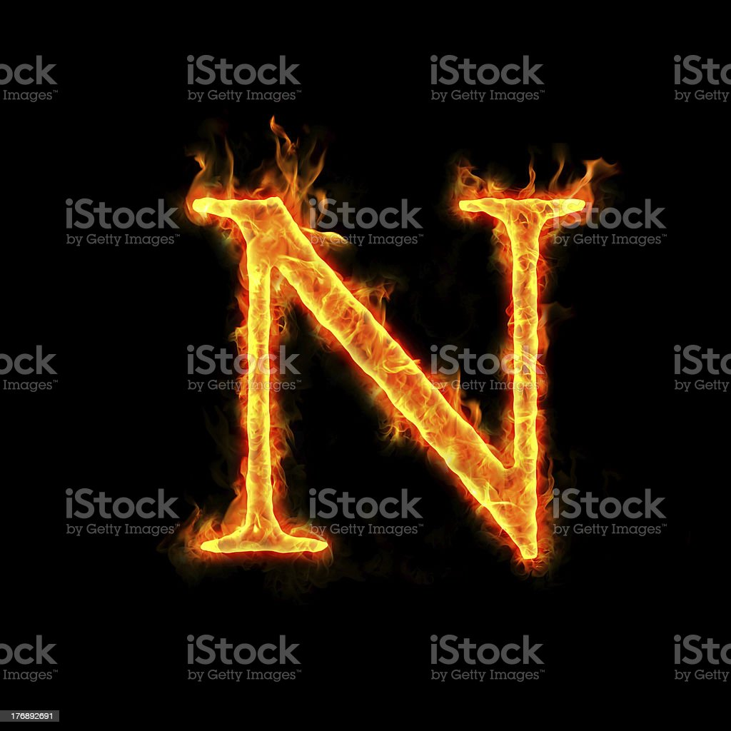 fire alphabets, N stock photo