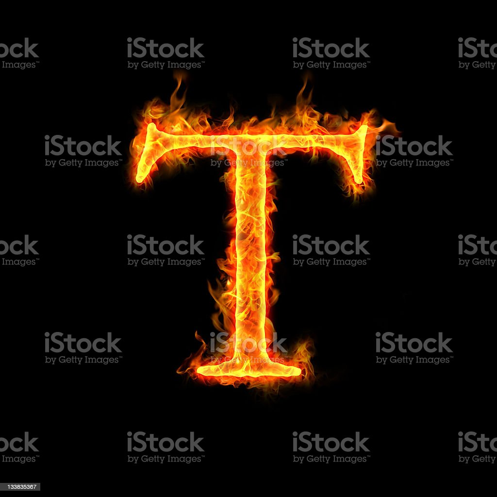 fire alphabets, T royalty-free stock photo