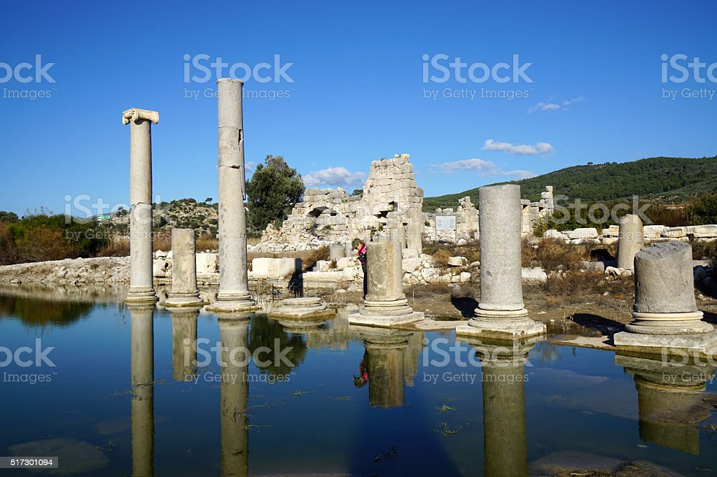 Fire & ruins at ancient city, Patara stock photo