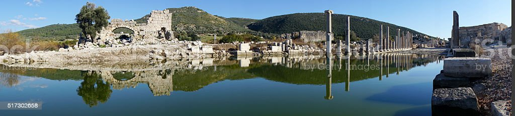 Fire & ruins at ancient city, Patara stock photo