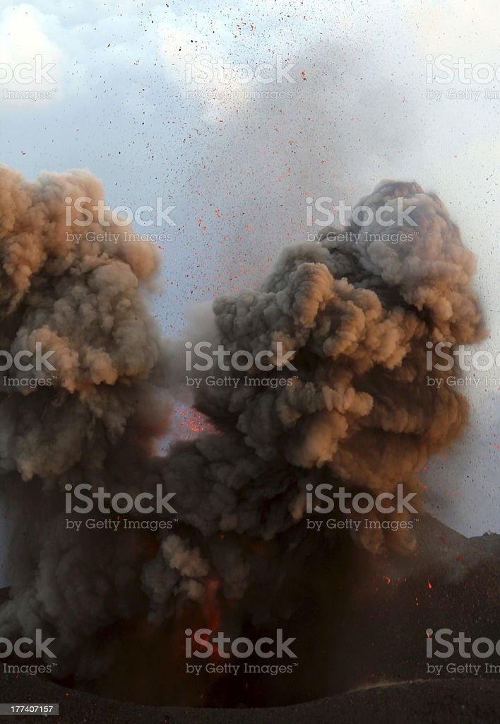 Fire and ash, Volcano erupting stock photo