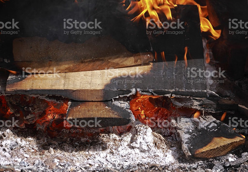 Fire and Burning Logs royalty-free stock photo