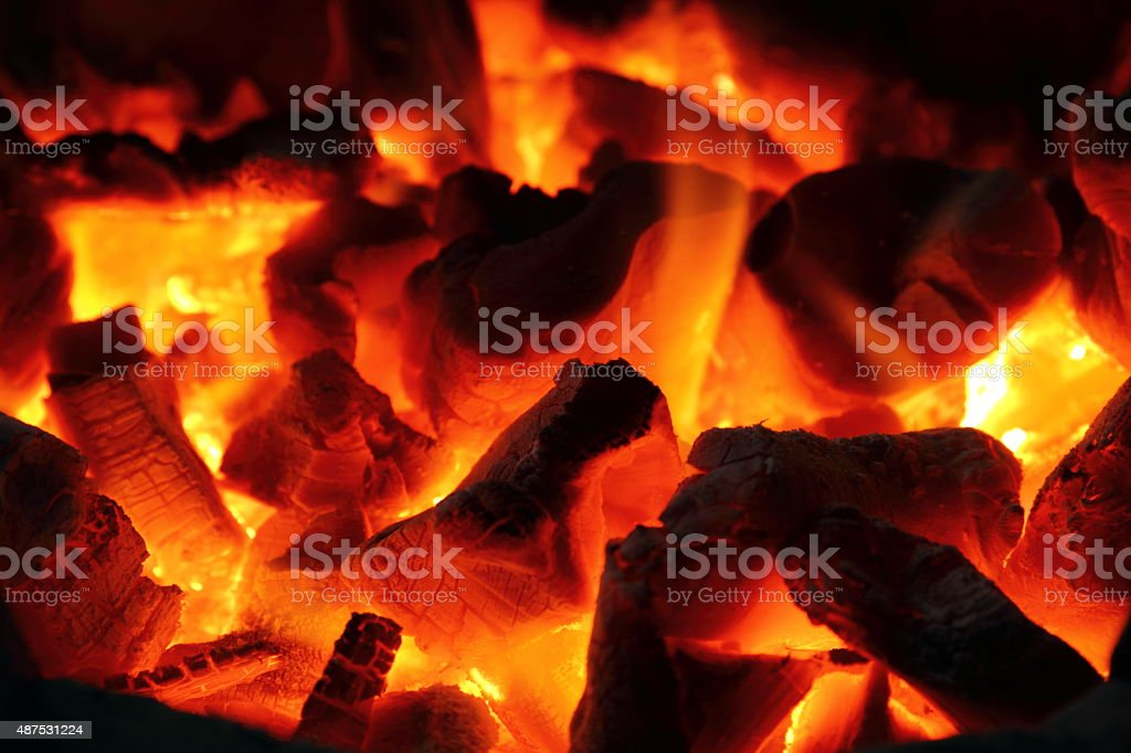Fire and charcoal stock photo