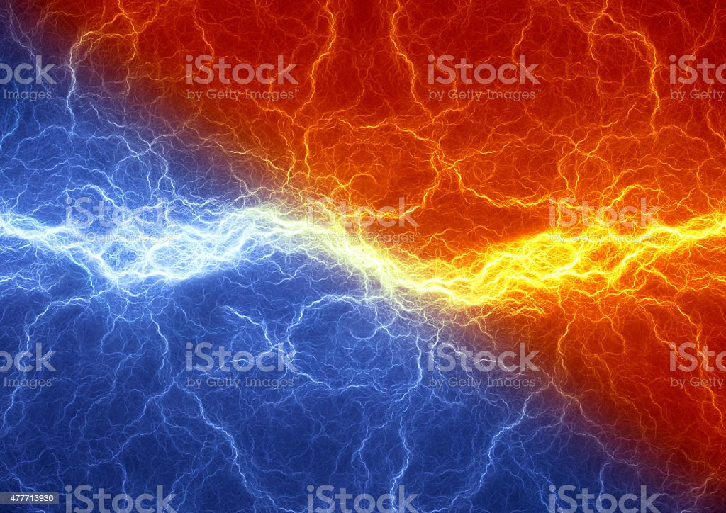Fire and ice abstract lightning background, clash of the elements stock photo