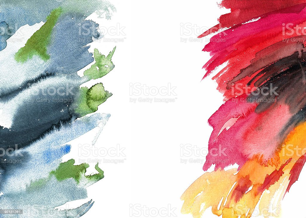 'Fire and Ice' Watercolour Brush Strokes royalty-free stock photo