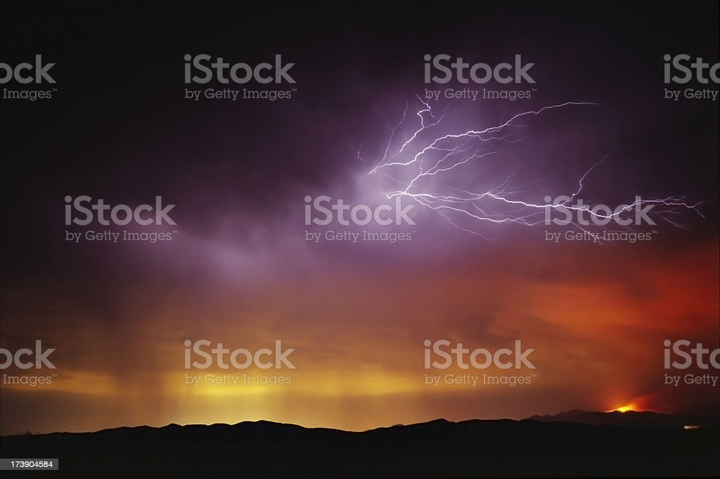 fire and lightning royalty-free stock photo