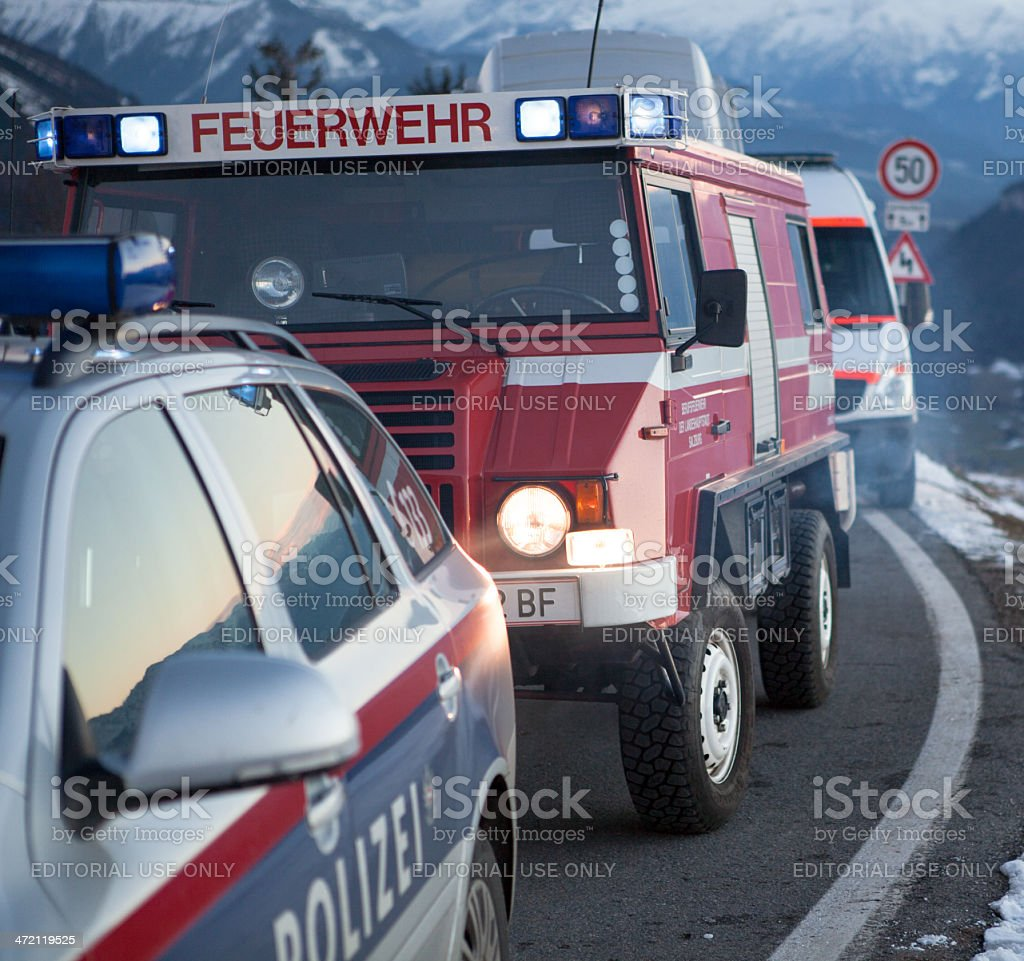 fire and rescue service in the mountains stock photo