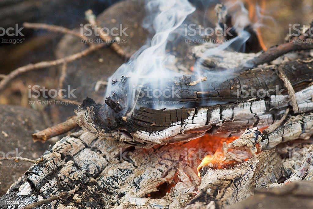 Fire and smoke. Macro royalty-free stock photo