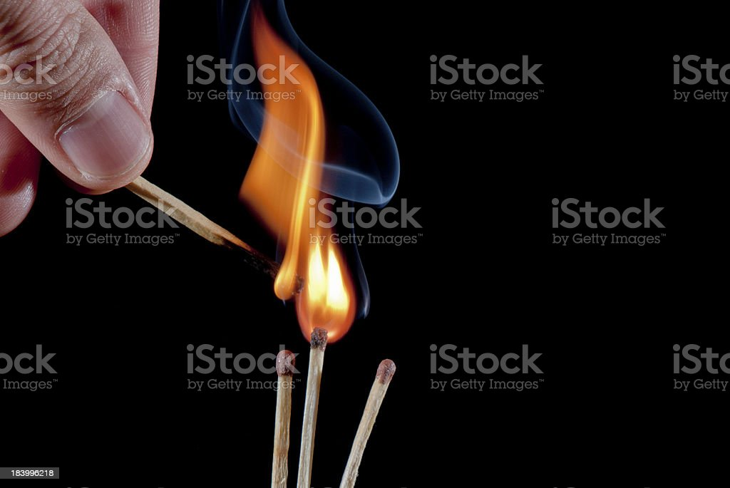 Fire And Smoke On Matchsticks royalty-free stock photo