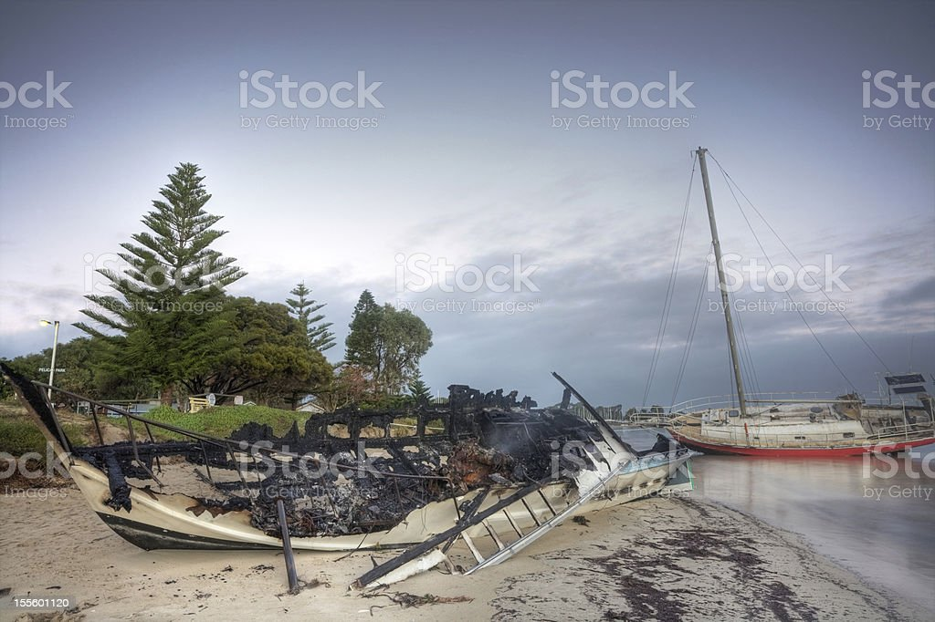Fire and Storm Damage royalty-free stock photo