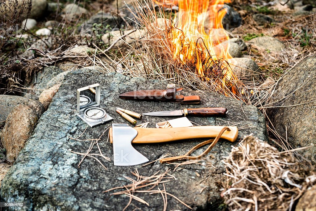 Fire and survival kit stock photo