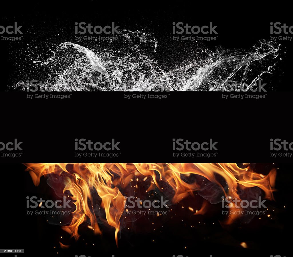 Fire and water elements on black background stock photo