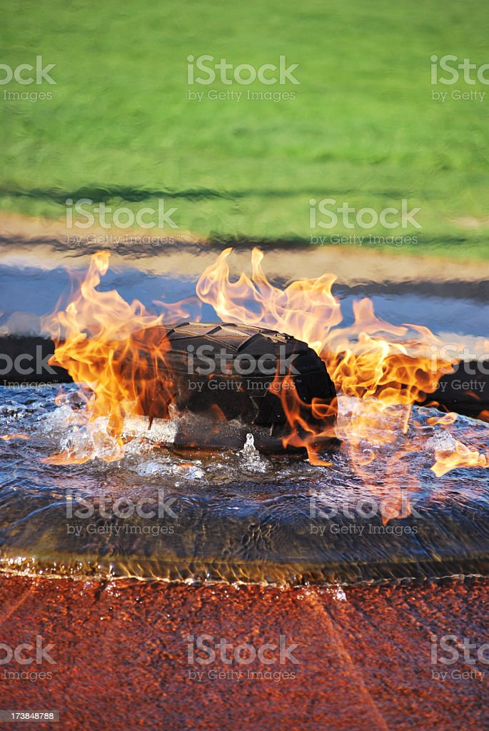 Fire and water monument stock photo
