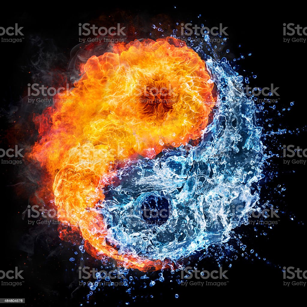 fire and water - ying  yan concept tao symbol stock photo