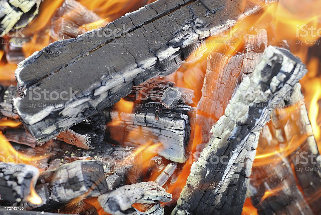 fire, ash, coals, heat, flame royalty-free stock photo