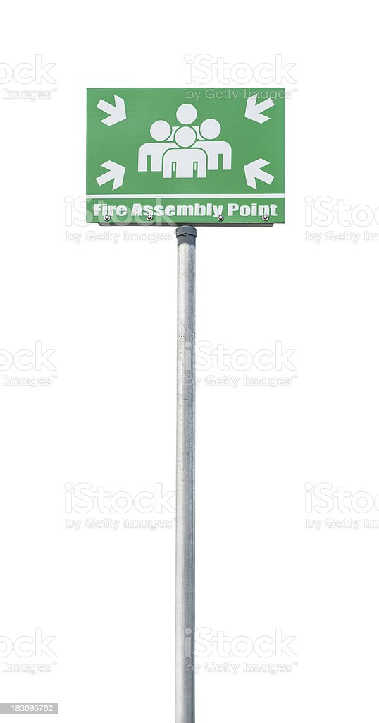 Fire assembly point sign stock photo