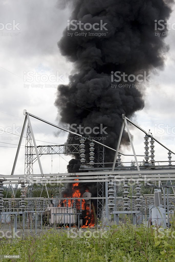 Fire at Electrical Substation stock photo