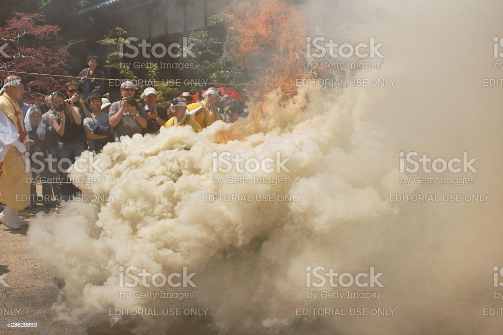 Fire at Fire Walking Festival in Miyajima stock photo