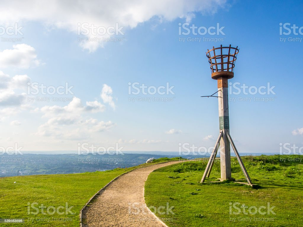 Fire Beacon Warning on a Hill stock photo