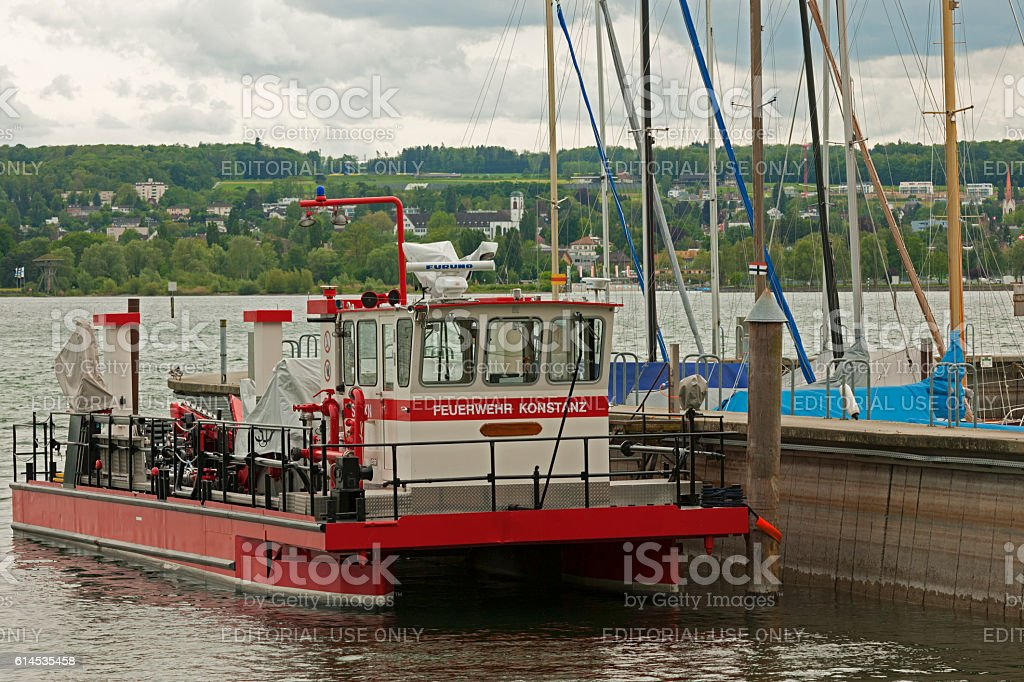 Fire Boat on Lake Constance stock photo