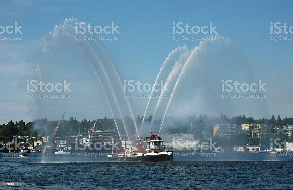 Fire Boat Spraying Water royalty-free stock photo