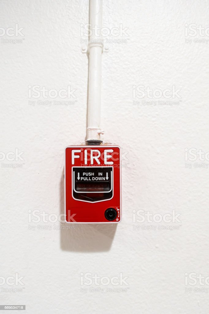 Fire breaker box on wall background., Fire protection system. stock photo