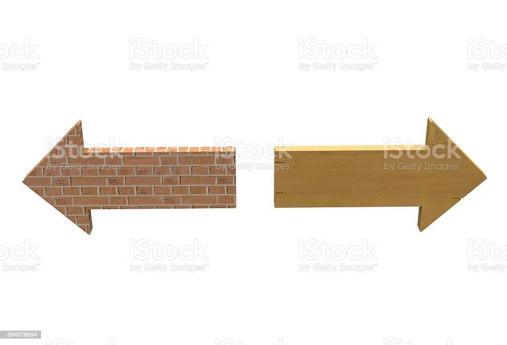 fire brick texture arrow and laminate floor texture arrow stock photo