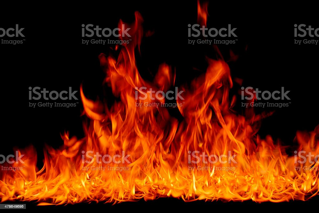 fire burning, flames on black background stock photo