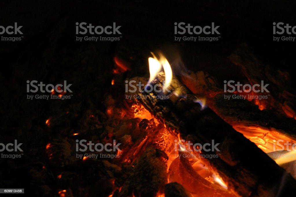 Fire Burning Log Flame stock photo