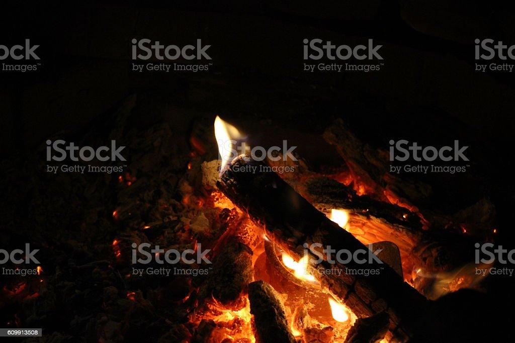 Fire Burning Logs - Center Frame stock photo