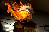 Fire charred whiskey barrel